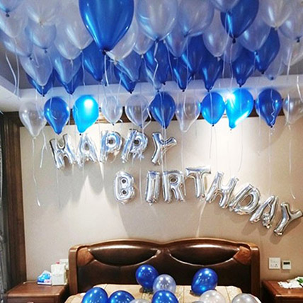 Happy Birthday Blue and Silver Balloon Decor: Balloon Decoration Dubai
