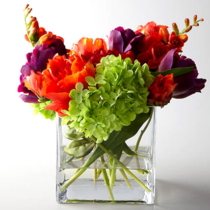 Artificial Mixed Flowers In Square Glass Vase: Gifts for Scorpios