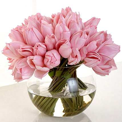 Artificial Real Touch Pink Tulips: Artificial Flowers