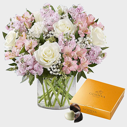 Exotic Blossoms and Godiva Gold Chocolate Box: Flowers and Chocolates