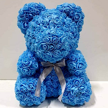 Artificial Blue Roses Teddy: Teddy Day Gifts