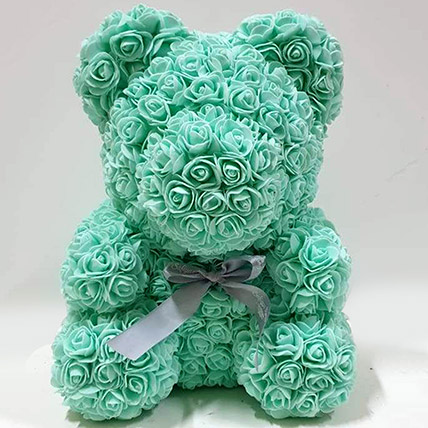 Artificial Roses Turquoise Teddy: Rose Teddy Bears