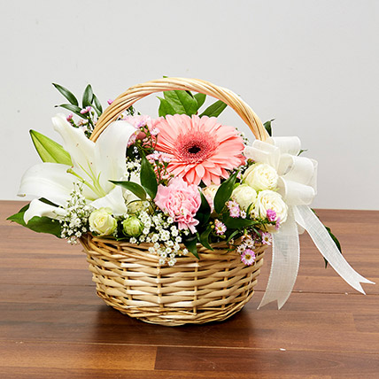 Basket Arrangement Of Gorgeous Flowers: Birthday Basket Arrangements