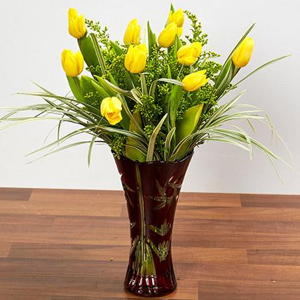 Bright Yellow Tulips In Maroon Vase: Tulips Flowers