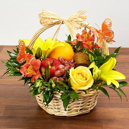 Basket Arrangement Of Fresh Flowers and Fruits: Fruit Baskets