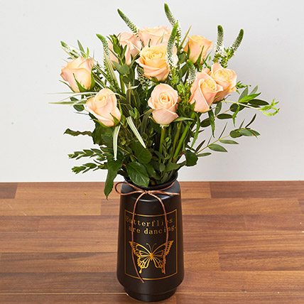 Vase Arrangement Of Roses And Veronica: Gifts on Sale
