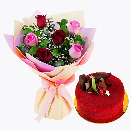 Pink and Red Roses with Red Velvet Cake: Anniversary Flower Bouquets