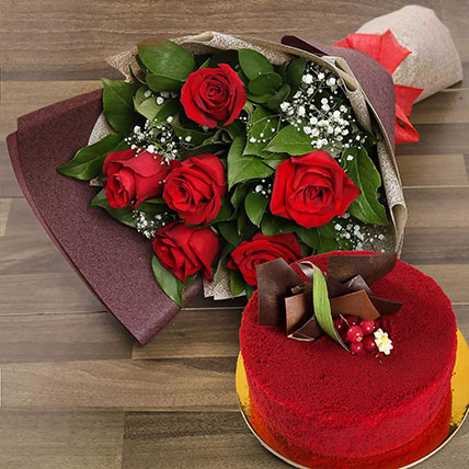 Red Roses with Red Velvet Cake: Birthday Cakes for Wife
