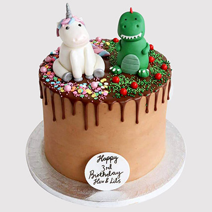 Dinosaur and Unicorn Cake: Dinosaur Cake
