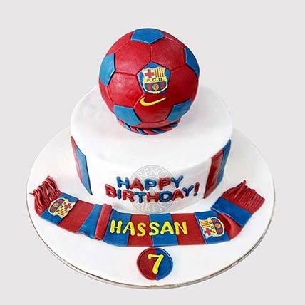 FC Barcelona Theme Cake: Football Cake