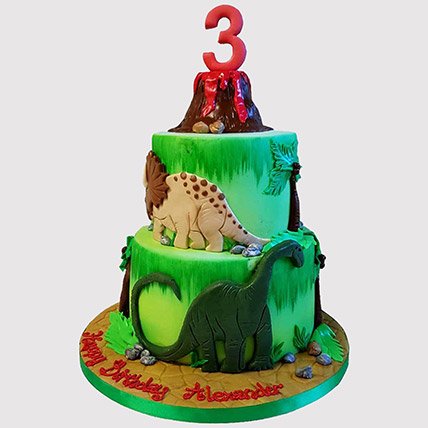 Volcano Jungle Cake: Dinosaur Cakes