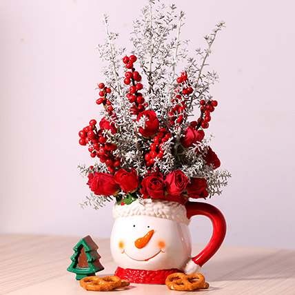 Ceramic Mug Flower Arrangement: Send Christmas Flowers to Umm Al Quwain