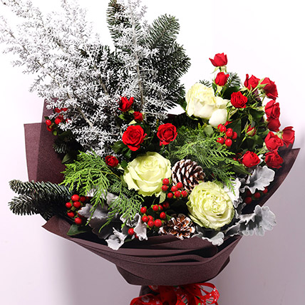 Red And White Flower Themed Bouquet: Christmas Flowers