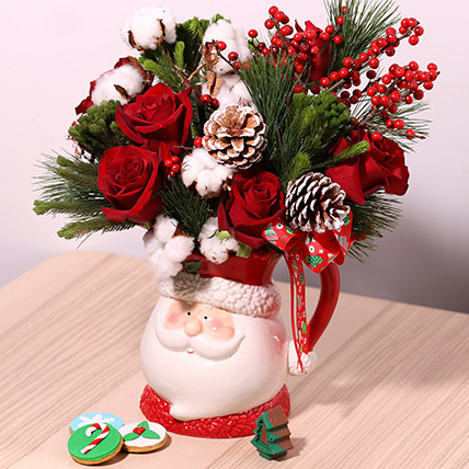 Santas Jar Or Flowers: Send Christmas Flowers to Dubai