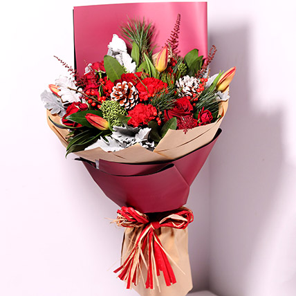 Tulips And Carnations Graceful Bouquet: Send Christmas Flowers to Umm Al Quwain