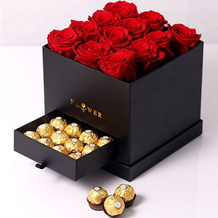 Forever Red Roses With Rochers In Box: Valentine Gift Hampers to Al Ain