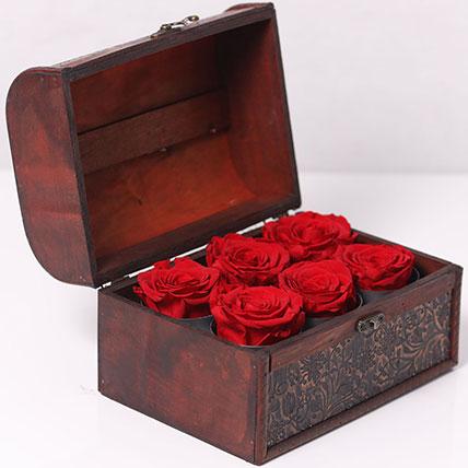 6 Red Forever Roses In Treasure Box: Forever Roses