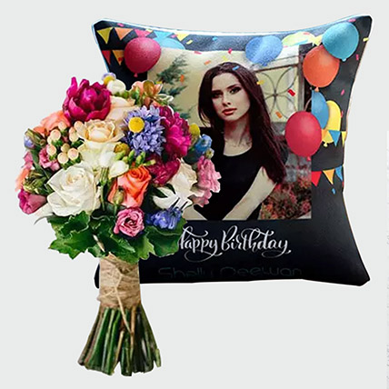 Flowers Bunch and Personalised Birthday Cushion: Flowers N Personalised Gifts
