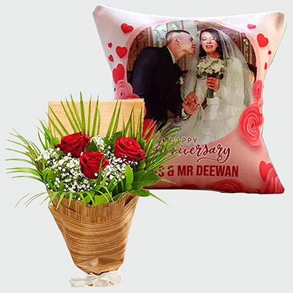 Personalised Cushion and Red Roses: Anniversary Personalised Gifts