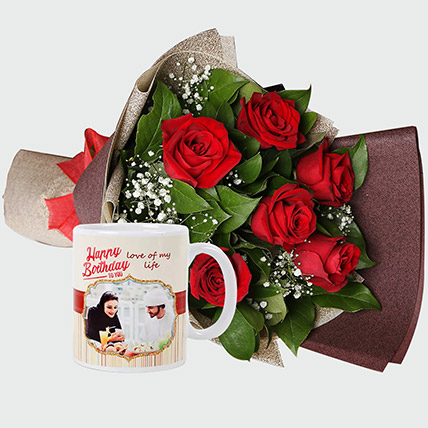 Roses Bouquet and Personalised Mug: