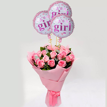 Pink Roses Bouquet with Balloons: Balloons