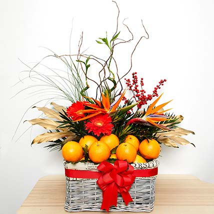 Tempting Fruits With Flowers Hamper: Chinese New-year Gifts