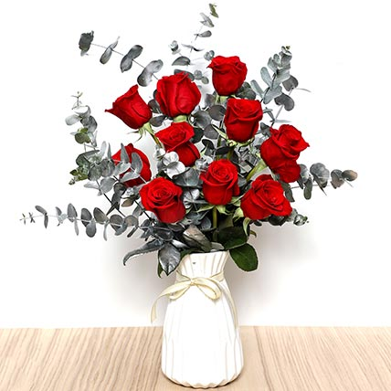 Ravishing Red Roses In Ceramic Pot: Order Flowers