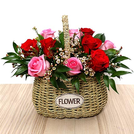 Red and Pink Roses Mini Basket: Valentines Day Flowers for Boyfriend