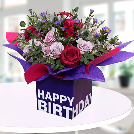 Mixed Flowers In Square Glass Vase: Birthday Gifts to Ras Al Khaimah