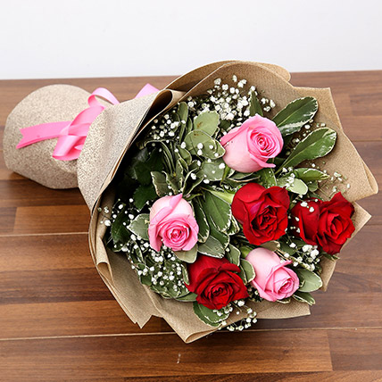 Pink and Red Roses Bouquet: Valentines Flowers