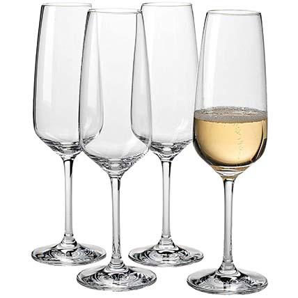 Set Of Transparent Champagne Flutes: Kitchen Accessories