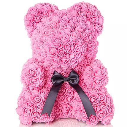 Pink Artificial Roses Teddy: Valentines Day Gifts For Her