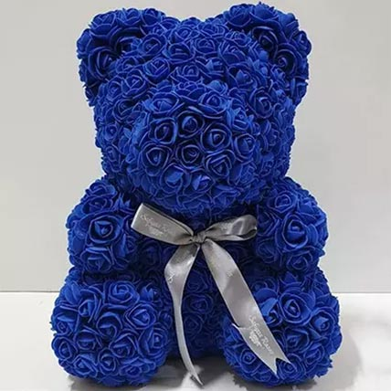 Blue Artificial Roses Teddy Bear: Valentines Day Gifts For Him