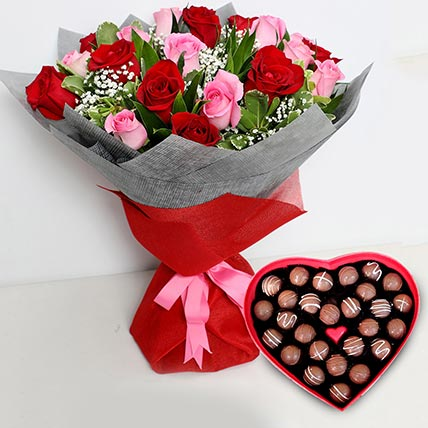 Pink and Red Roses Bouquet with Heartshaped Chocolates: Kiss Day Gifts