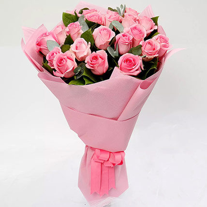 Ravishing Bouquet of 20 Pink Roses: Kiss Day Gifts