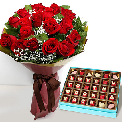 20 Red Roses Bouquet with Valentines Chocolates: Valentine Gift Hampers to Sharjah