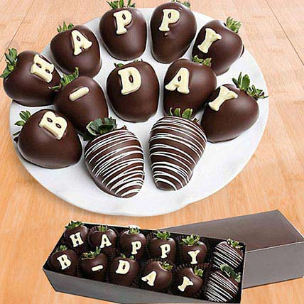 Birthday Belgian Dark Chocolate Strawberries: Chocolates