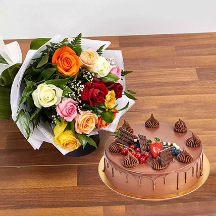 Dozen Multi Roses with Fudge Cake: Birthday Flowers & Cakes