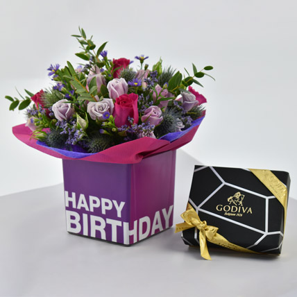 Vibrant Flowers and Godiva Chocolates For Birthday: Flowers and Chocolates
