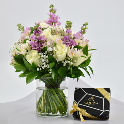 Exotic Blossoms and Godiva Chocolate Bar: Flowers and Chocolate Delivery