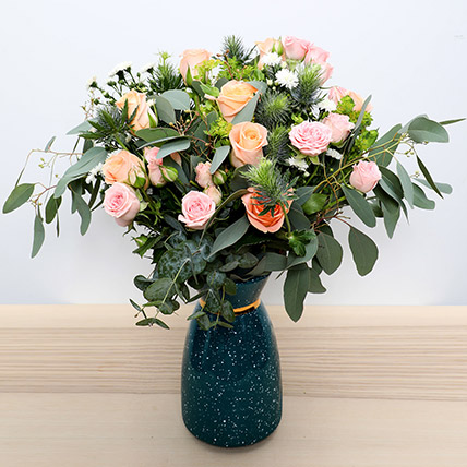 Pastel Coloured  Roses Vase: Mothers Day Flowers to Dubai