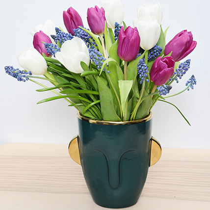 Tulips and Muscari in a Vase: Mothers Day Flowers