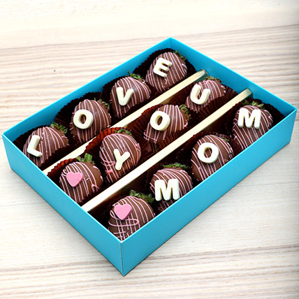 Love You Mom Chocolate Strawberries:  Personalised Chocolates