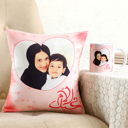 Personalised Hearty Cushion n Mug For Mom: Mothers Day Combos
