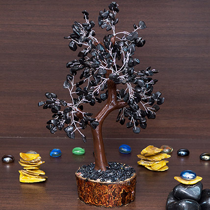 Black Agate Stone Handcrafted Wishing Tree: Wish Trees
