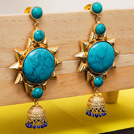 Gold Toned Dome Earrings: Jewellery