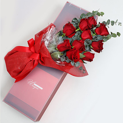 Magical Red Roses Box: Valentines Day Flowers for Boyfriend