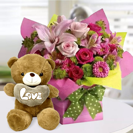 Mixed Flower Arrangement and Teddy Combo: Birthday Flowers & Teddy Bears