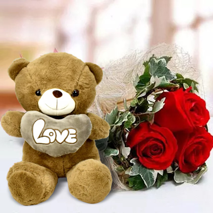 Red Roses and White Teddy Combo: Soft Toys