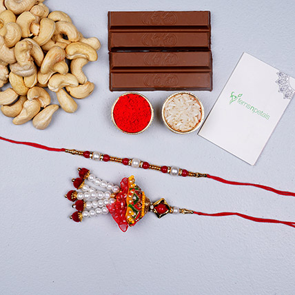 Fancy Bhaiya Bhabhi Rakhi Set With Cashews And Choco: Rakhi With Chocolates